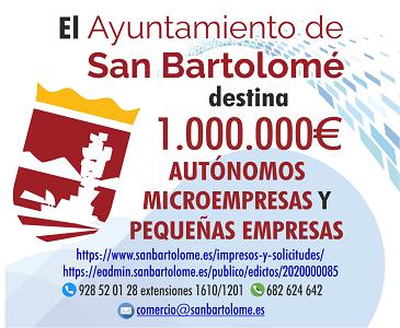 AYUDAS A AUTÓNOMOS, PYMES, MICROEMPRESAS SAN BARTOLOMÉ